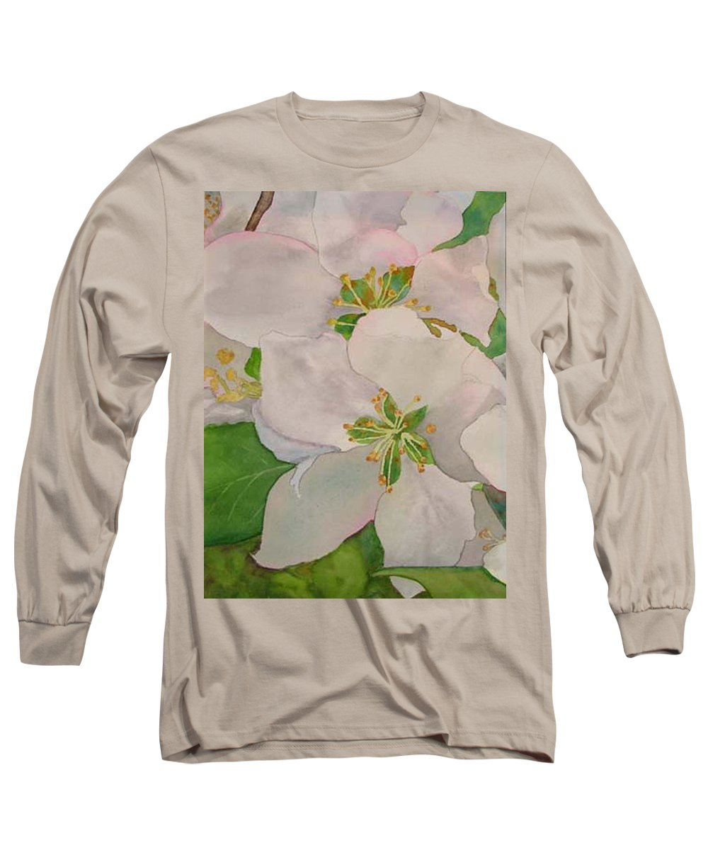 Apple Blossoms Long Sleeve T-Shirt featuring the painting Apple Blossoms by Sharon E Allen