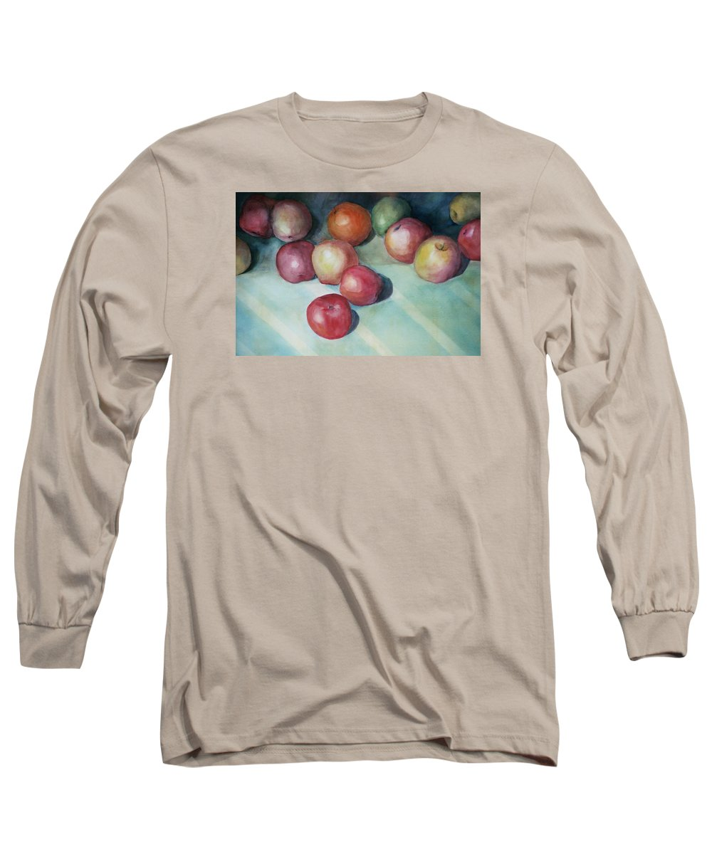 Orange Long Sleeve T-Shirt featuring the painting Apples And Orange by Jun Jamosmos