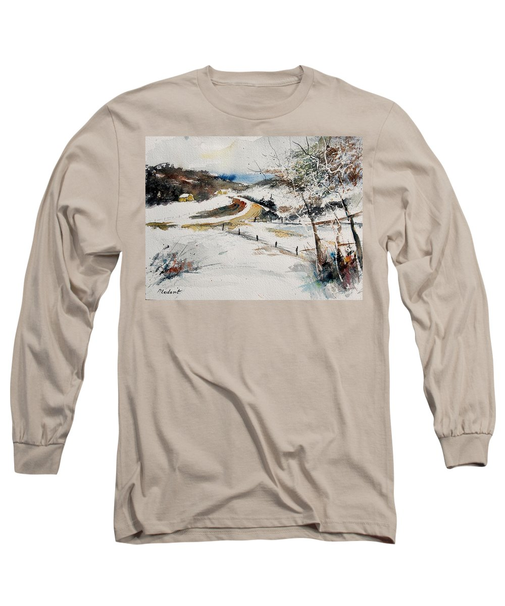 Landscape Long Sleeve T-Shirt featuring the painting Aqua 220908 by Pol Ledent