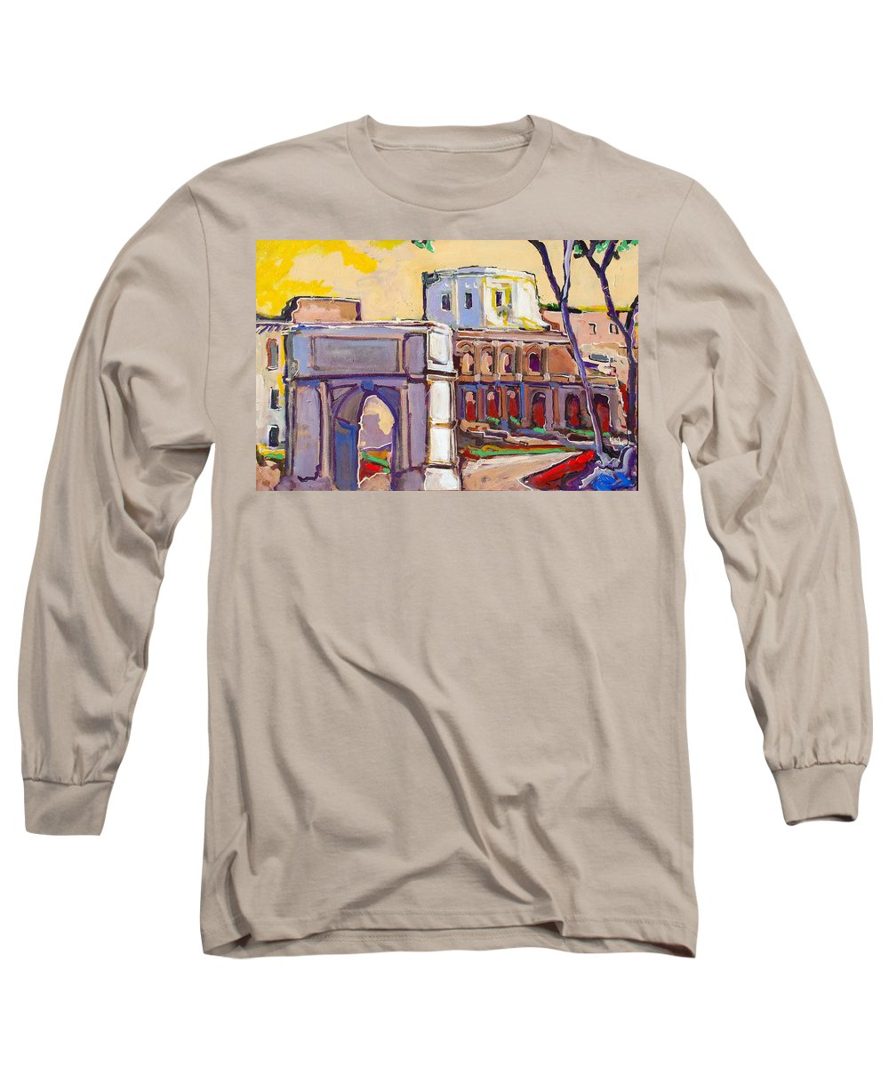 Rome Long Sleeve T-Shirt featuring the painting Arco Di Romano by Kurt Hausmann