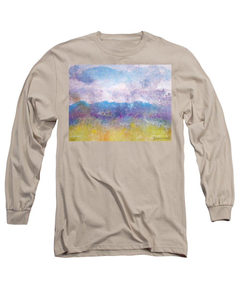 Abstract Long Sleeve T-Shirt featuring the painting Arizona Impressions by Jan Bennicoff