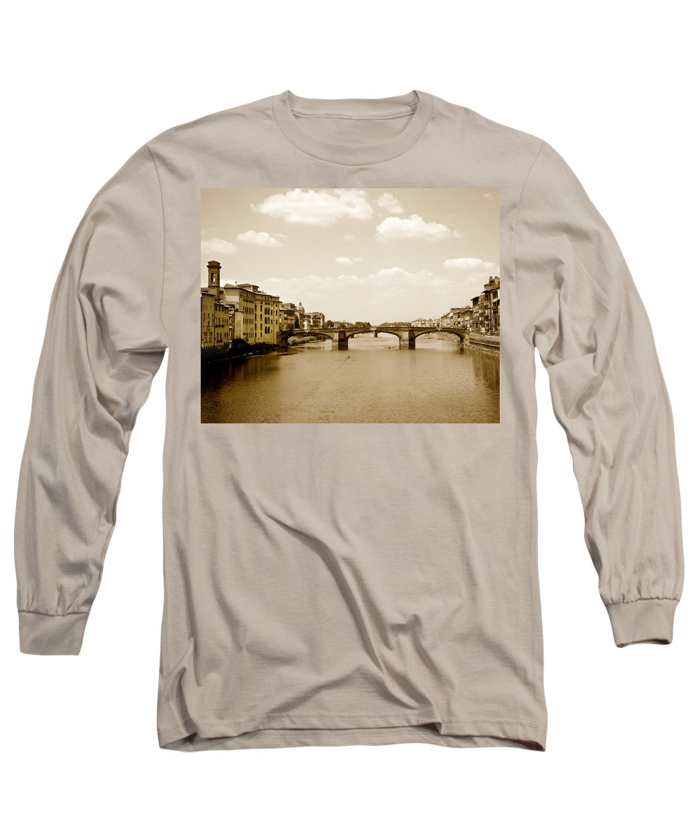 Italy Long Sleeve T-Shirt featuring the photograph Arno River Florence by Marilyn Hunt