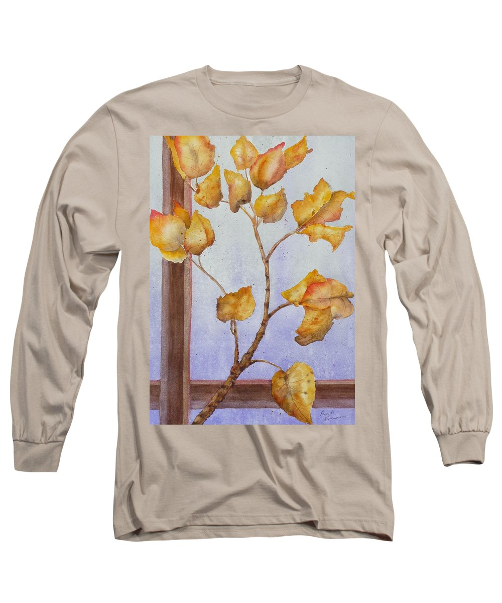 Leaves Long Sleeve T-Shirt featuring the painting Aspen by Ruth Kamenev