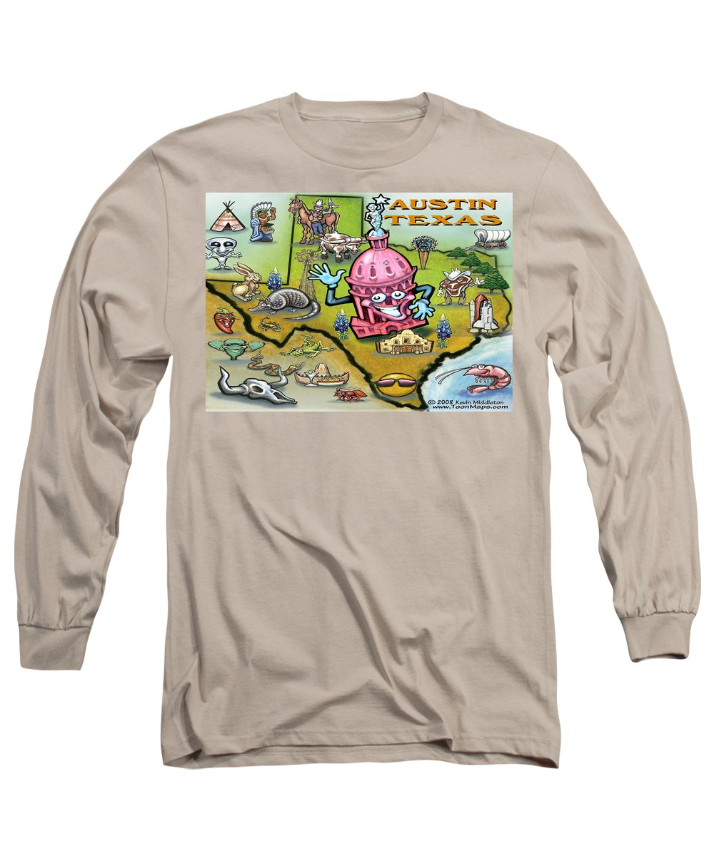 Austin Long Sleeve T-Shirt featuring the digital art Austin Texas Cartoon Map by Kevin Middleton