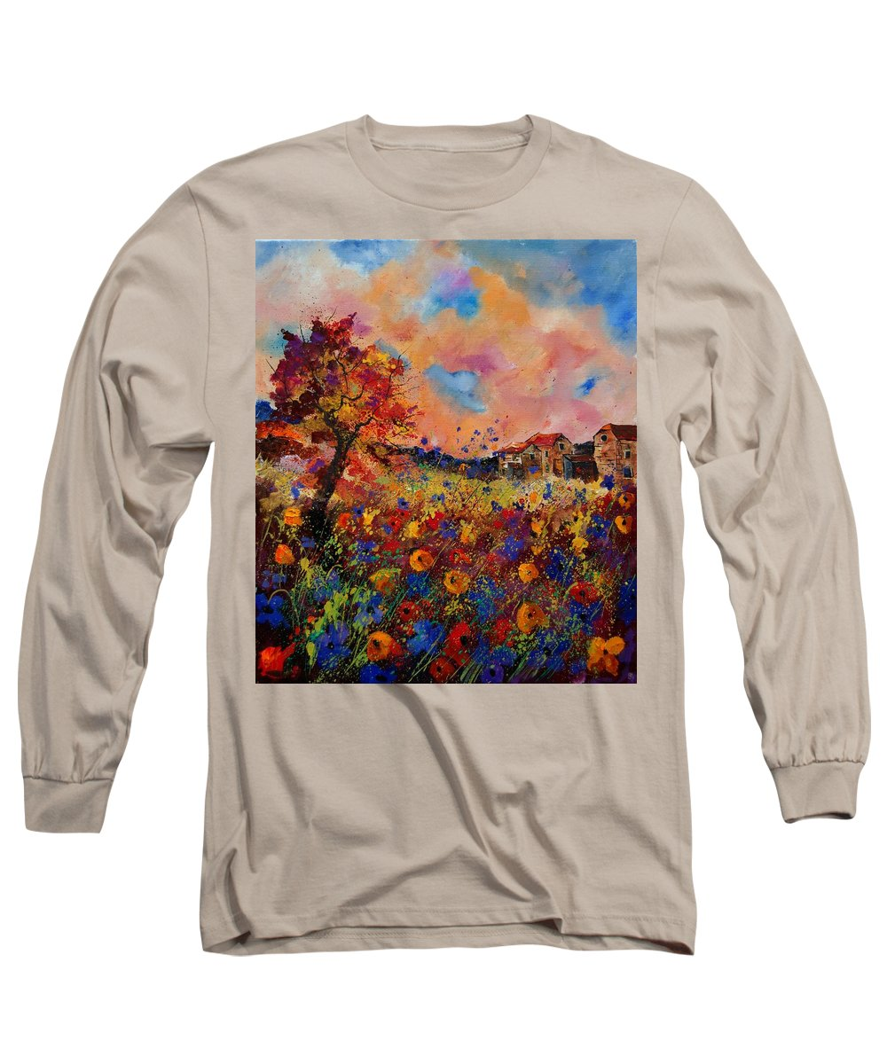 Poppies Long Sleeve T-Shirt featuring the painting Autumn Colors by Pol Ledent