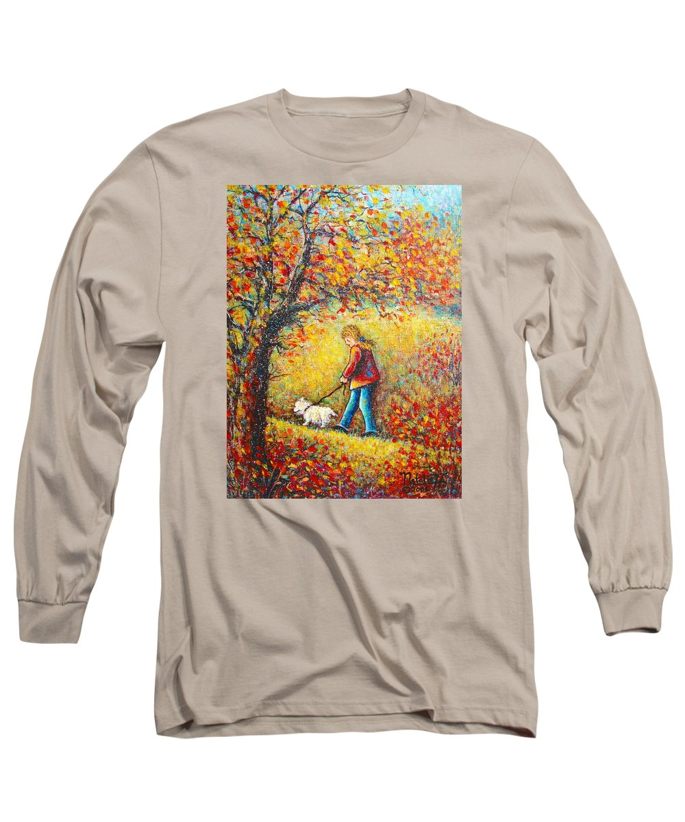 Landscape Long Sleeve T-Shirt featuring the painting Autumn Walk by Natalie Holland