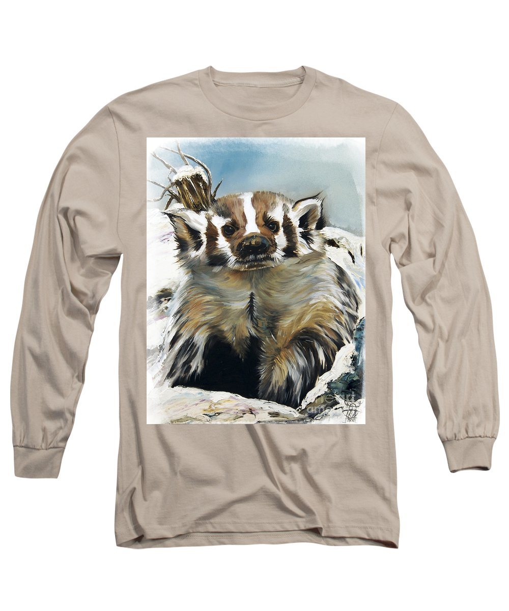 Southwest Art Long Sleeve T-Shirt featuring the painting Badger - Guardian Of The South by J W Baker