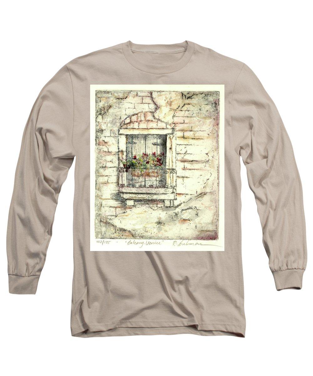Venice Long Sleeve T-Shirt featuring the painting Balcony Venice by Richard Bulman