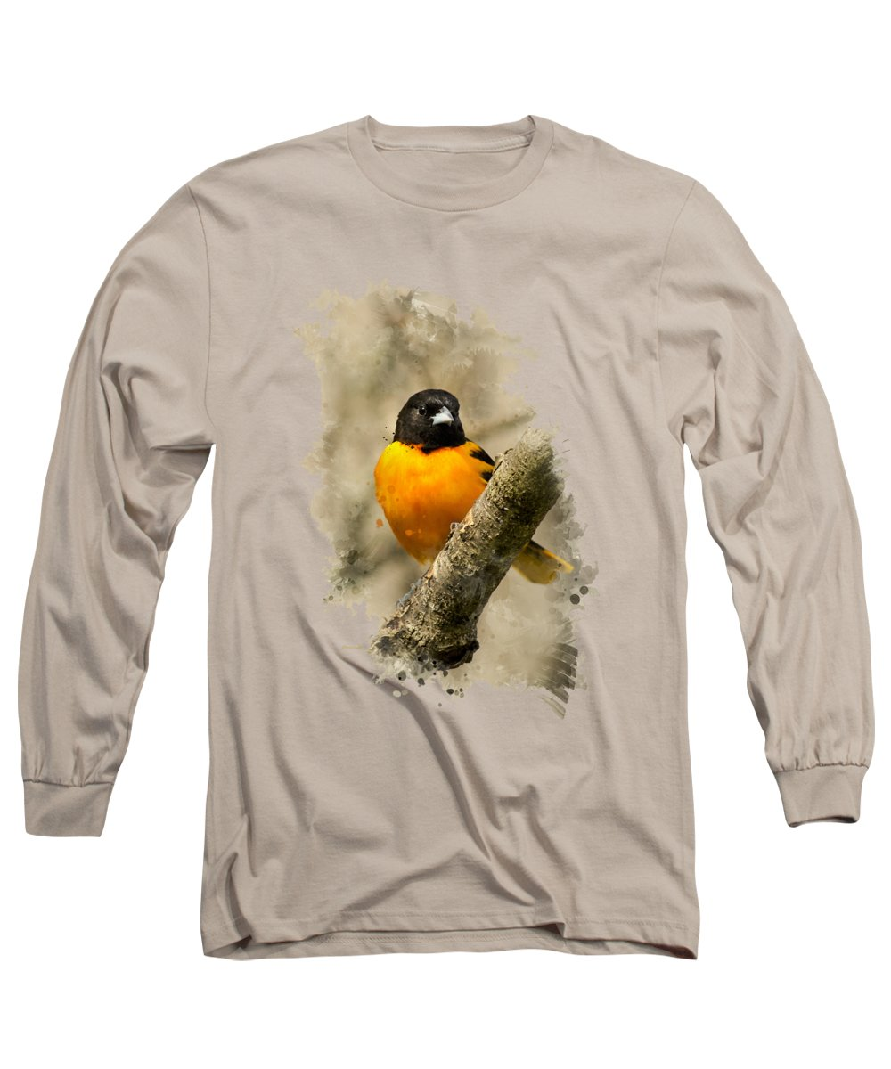 Baltimore Oriole Long Sleeve T-Shirt featuring the mixed media Baltimore Oriole Watercolor Art by Christina Rollo