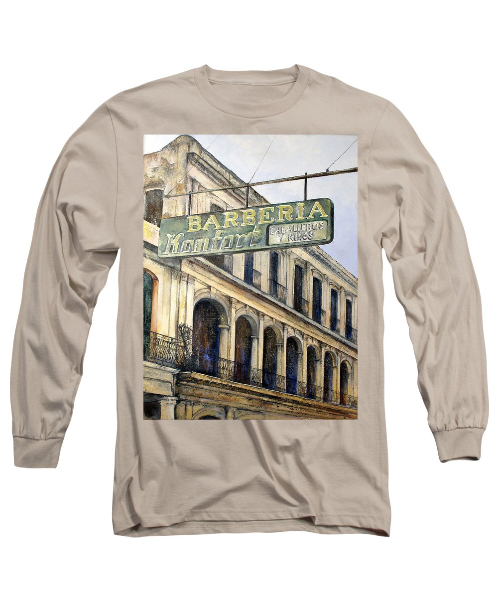 Konfort Barberia Old Havana Cuba Oil Painting Art Urban Cityscape Long Sleeve T-Shirt featuring the painting Barberia Konfort by Tomas Castano