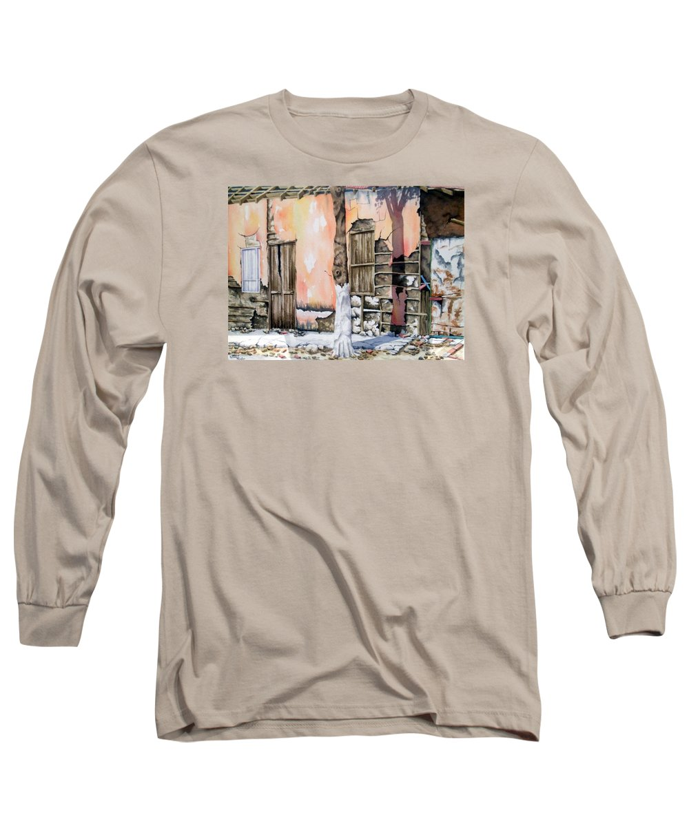 Lanscape Long Sleeve T-Shirt featuring the painting Bareque II by Tatiana Escobar