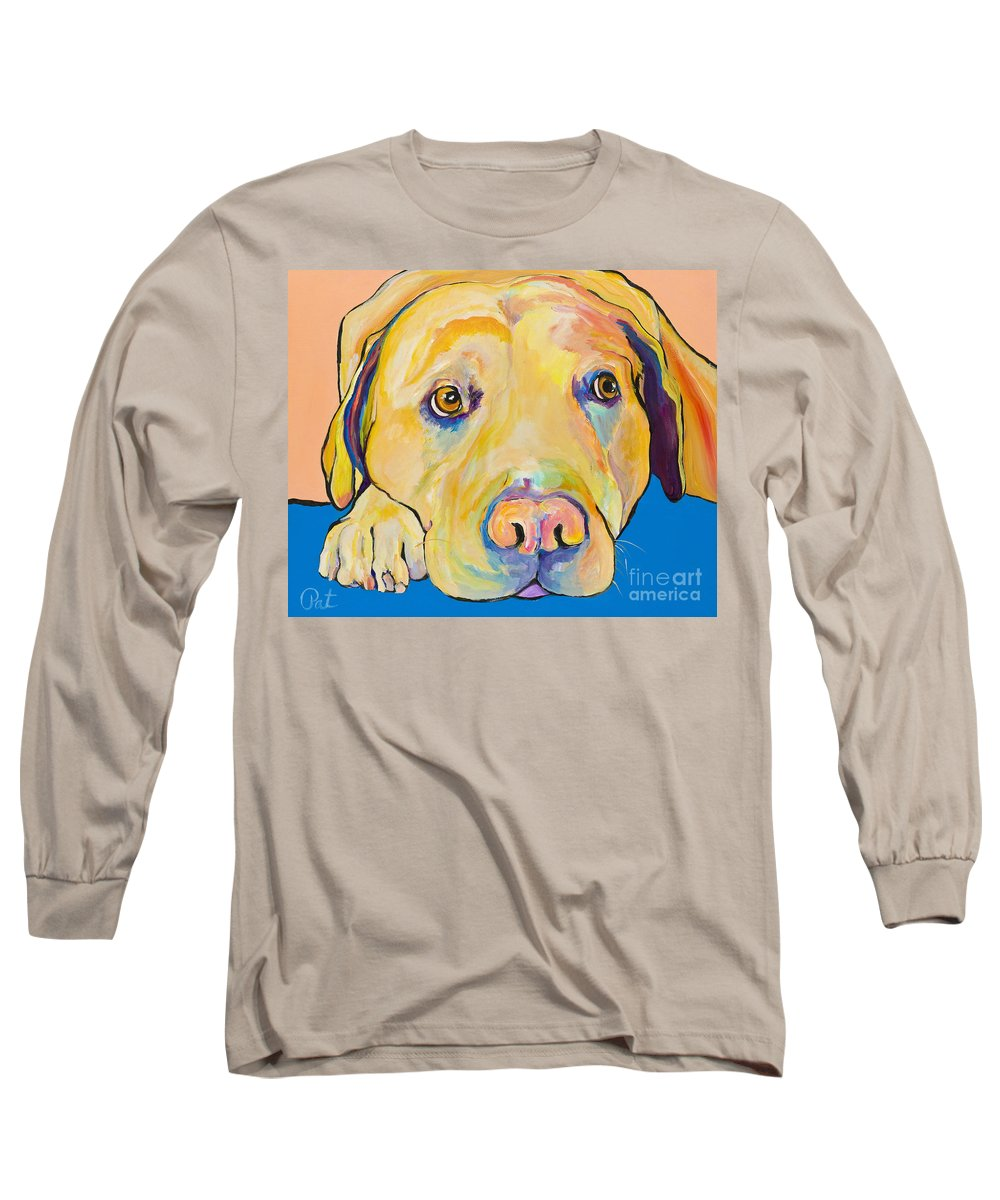 Dog Paintings Yellow Lab Puppy Colorful Animals Pets Long Sleeve T-Shirt featuring the painting Bath Time by Pat Saunders-White