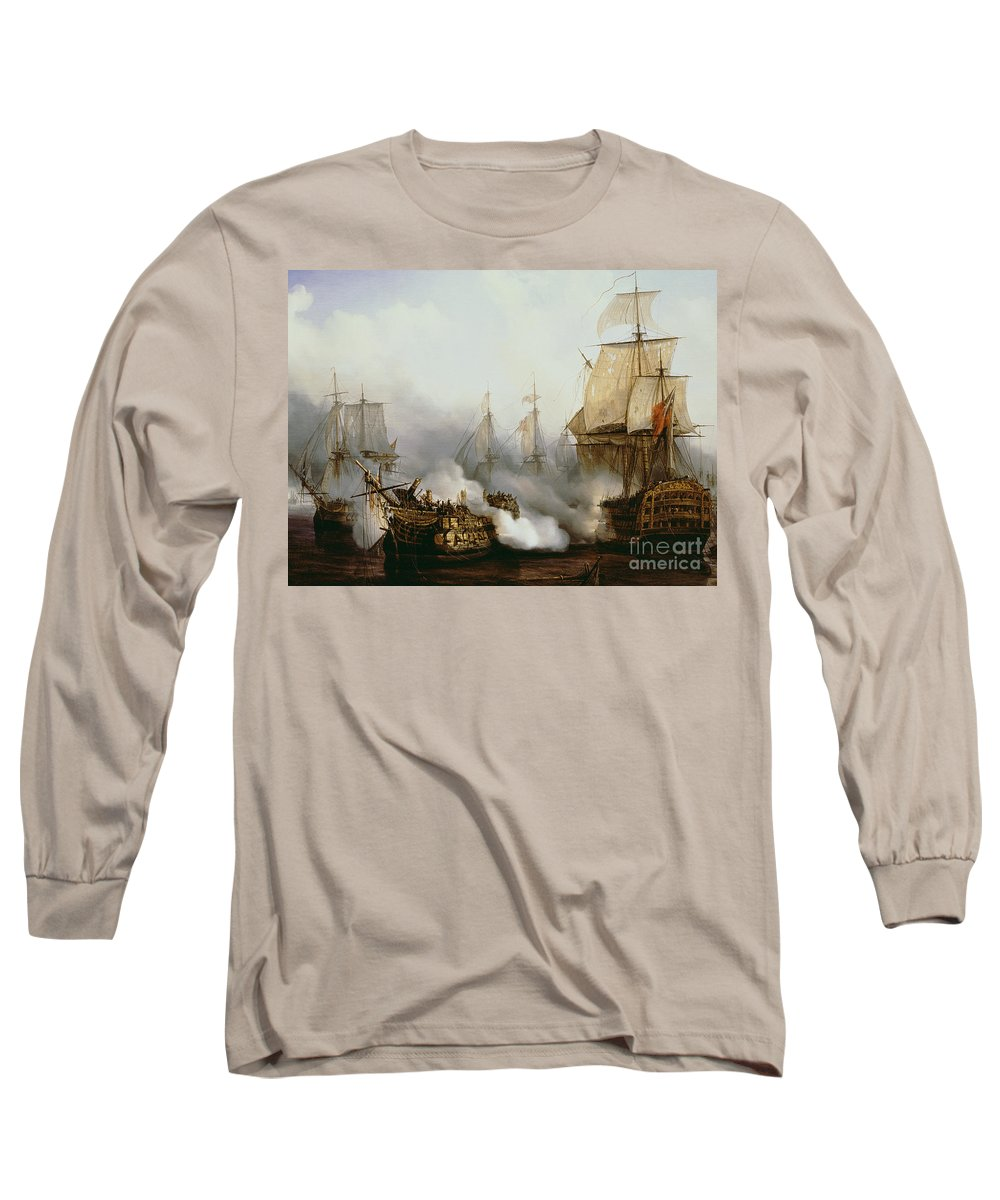 Battle Of Trafalgar (1805) (oil On Canvas) By Louis Philippe Crepin (1772-1851) Long Sleeve T-Shirt featuring the painting Battle Of Trafalgar by Louis Philippe Crepin