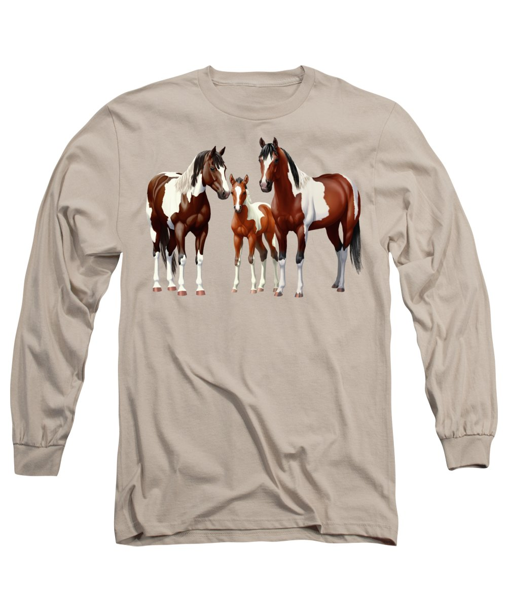 Paint Horse Long Sleeve T-Shirt featuring the painting Bay Paint Horses In Winter by Crista Forest