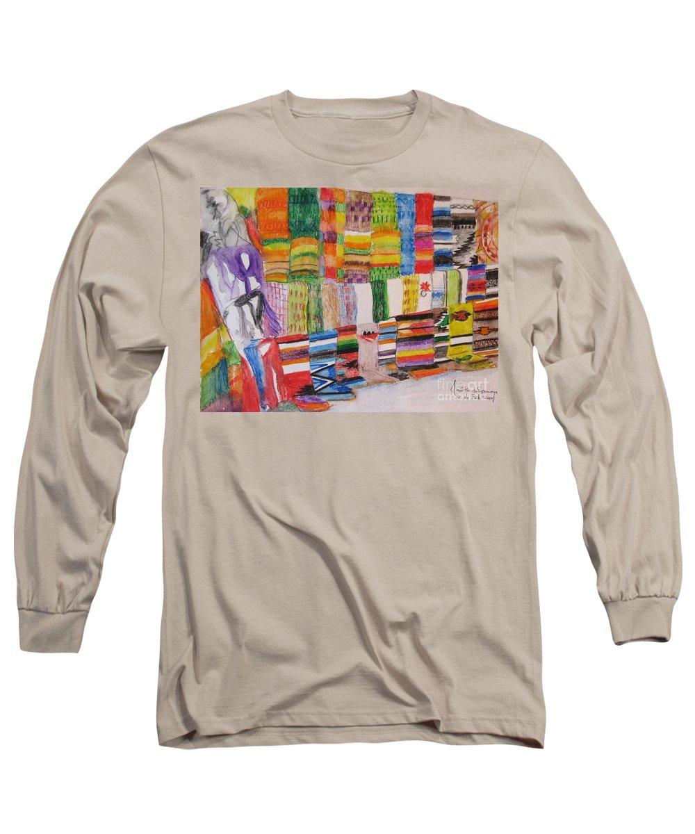 Bright Colors Long Sleeve T-Shirt featuring the painting Bazaar Sabado - Gifted by Judith Espinoza