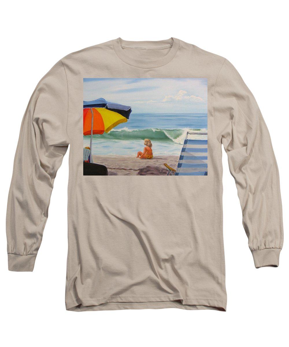 Seascape Long Sleeve T-Shirt featuring the painting Beach Scene - Childhood by Lea Novak