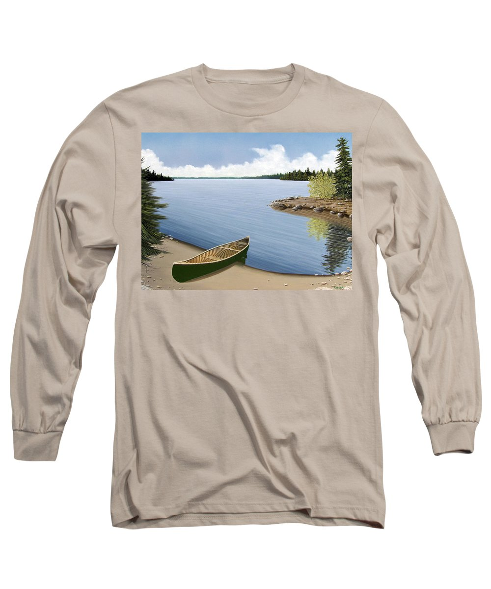 Canoe Long Sleeve T-Shirt featuring the painting Beached In Ontario by Kenneth M Kirsch