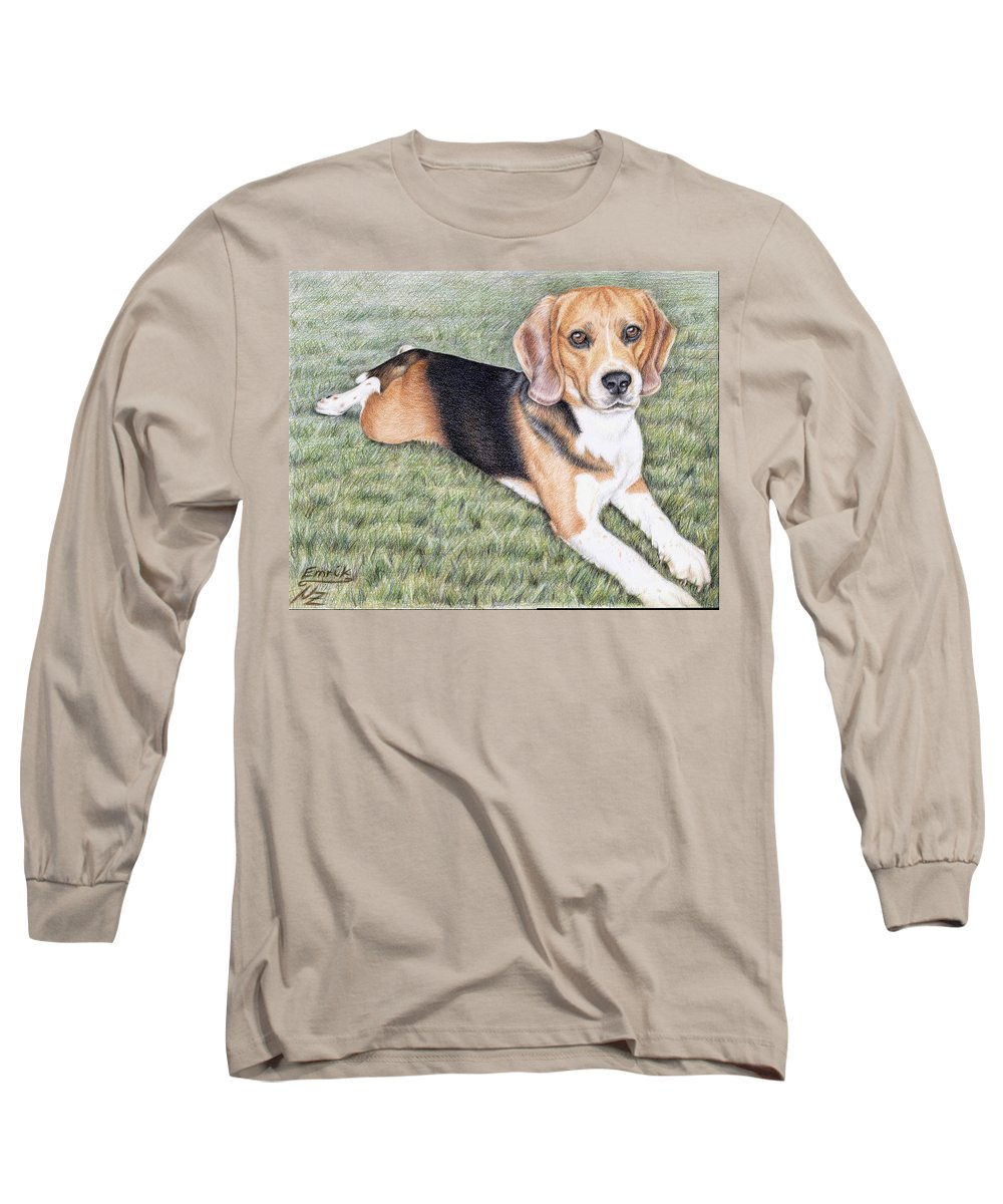 Dog Long Sleeve T-Shirt featuring the drawing Beagle by Nicole Zeug