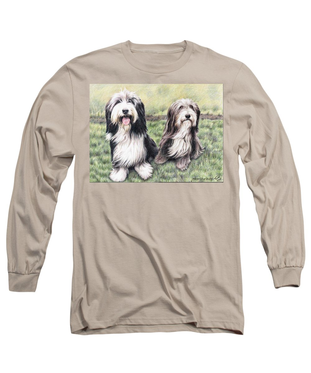 Dogs Long Sleeve T-Shirt featuring the drawing Bearded Collies by Nicole Zeug