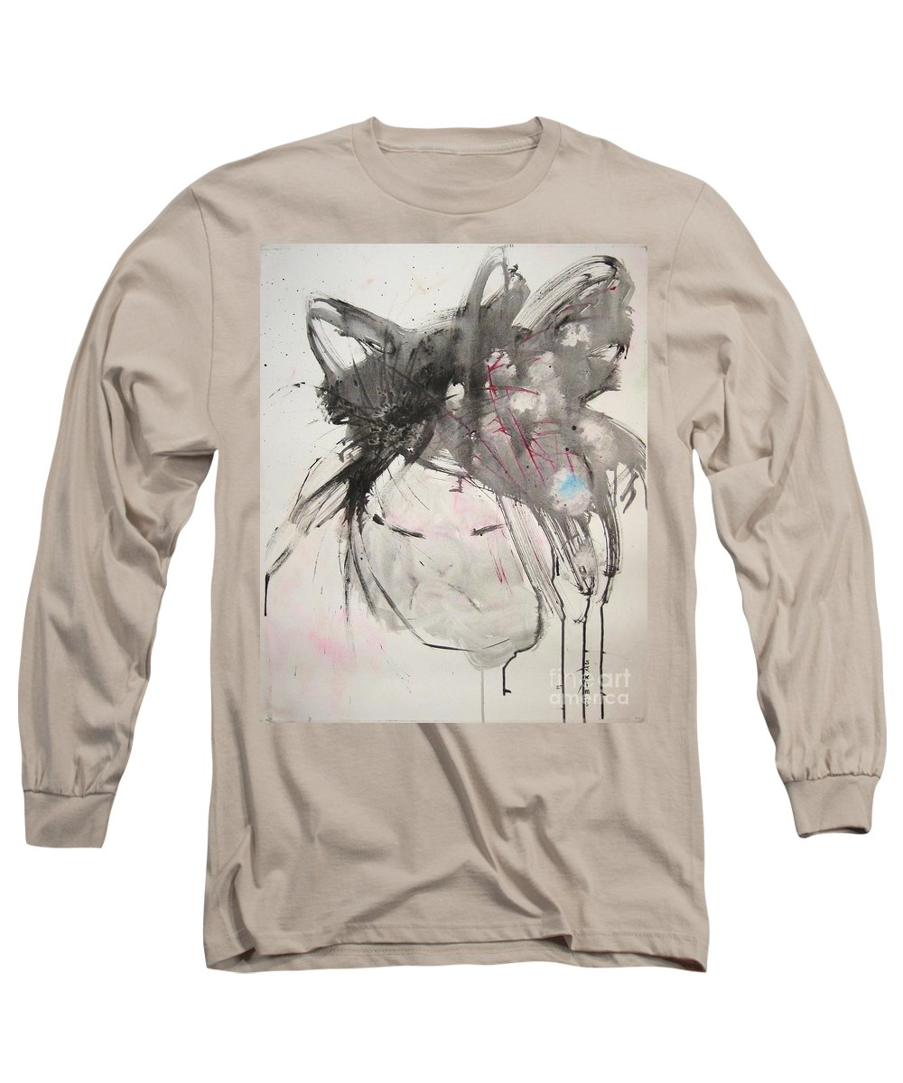 Black And White Paintings Long Sleeve T-Shirt featuring the painting Being Patient by Seon-Jeong Kim