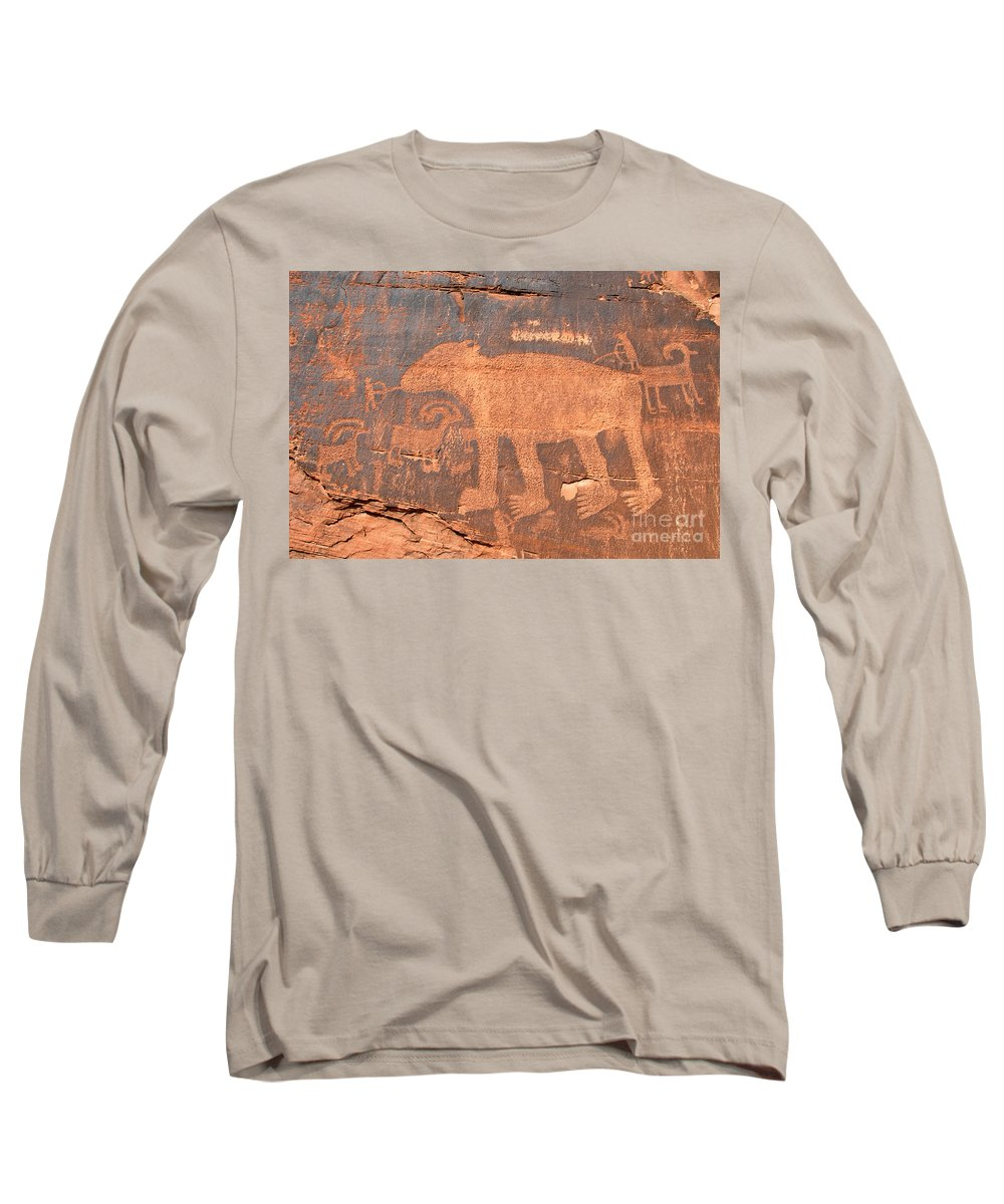 Petroglyph Long Sleeve T-Shirt featuring the photograph Big Bear Petroglyph by David Lee Thompson