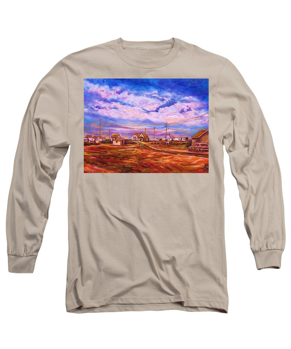 Cloudscapes Long Sleeve T-Shirt featuring the painting Big Sky Red Earth by Carole Spandau
