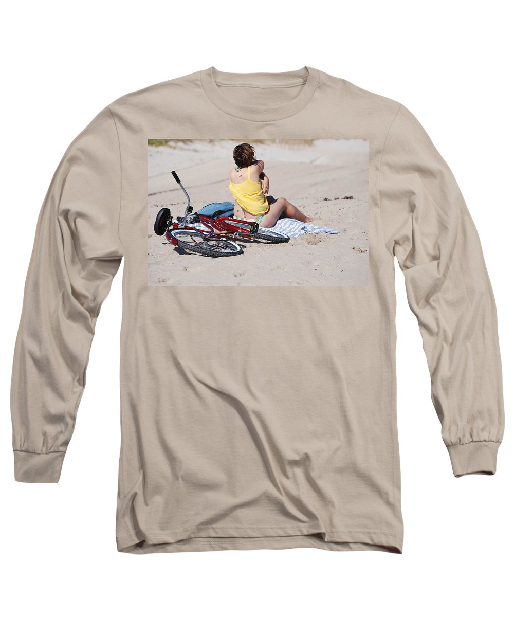 Red Long Sleeve T-Shirt featuring the photograph Bike On The Beach by Rob Hans