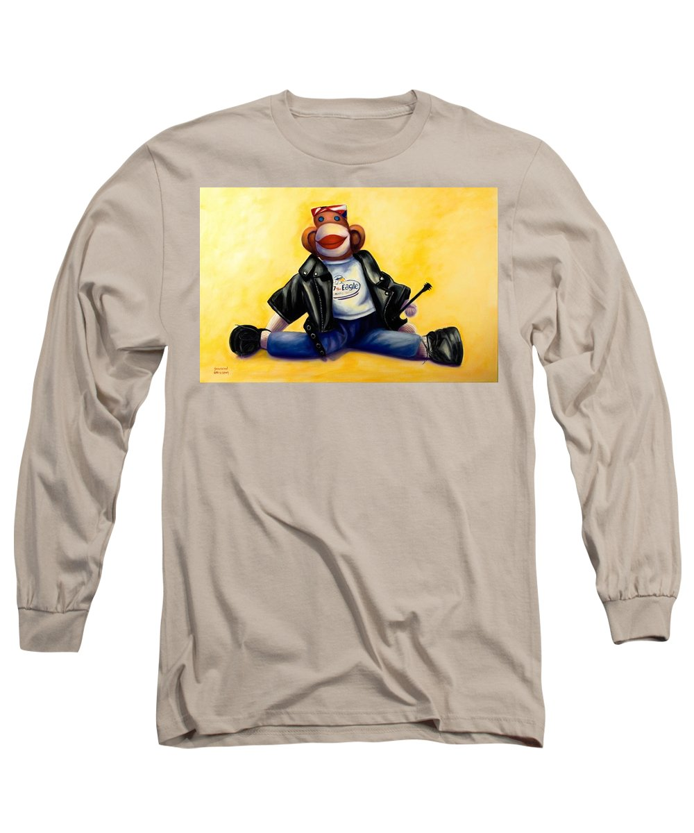Sock Monkey Brown Long Sleeve T-Shirt featuring the painting Biker Dude Made Of Sockies by Shannon Grissom