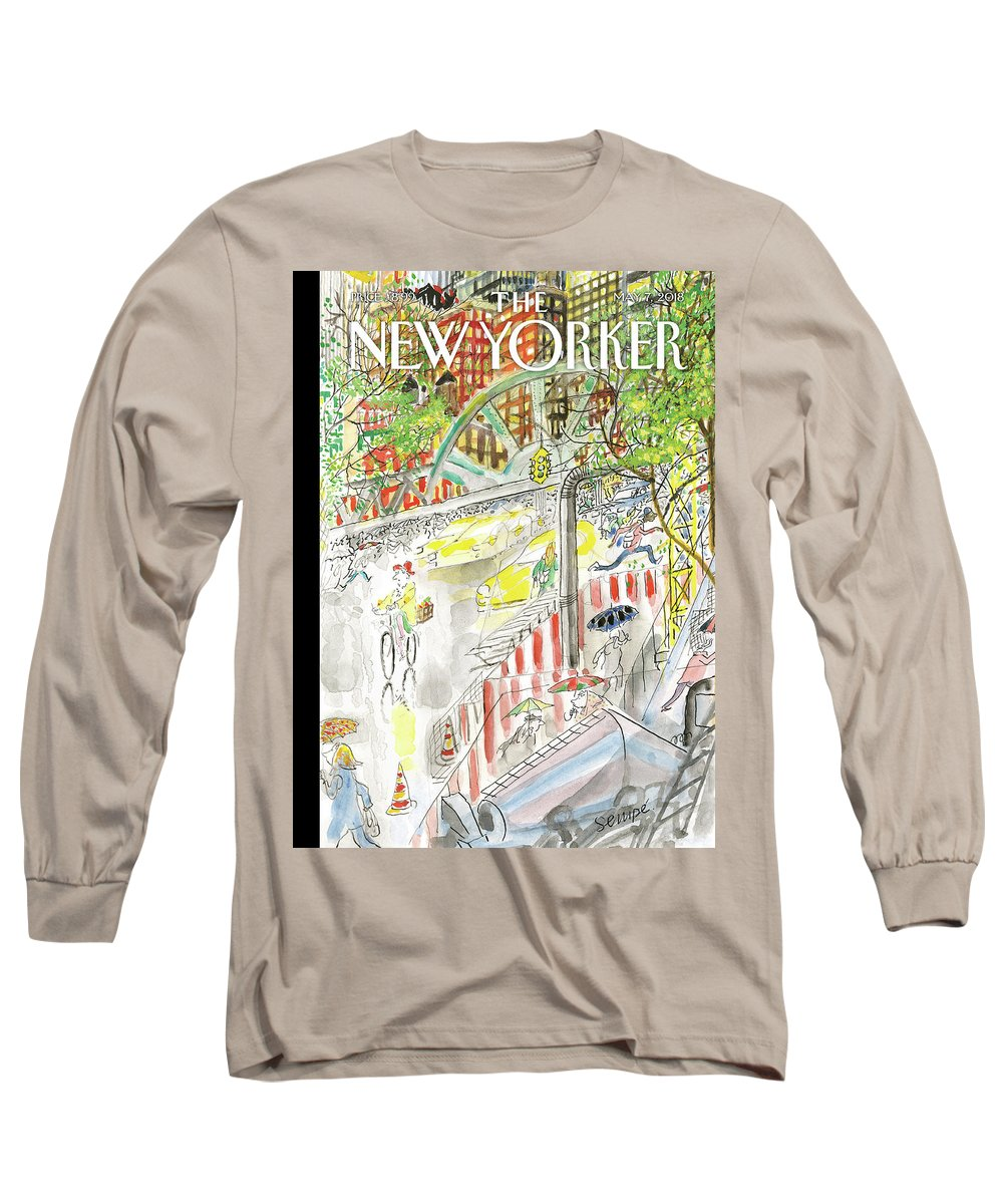 Biking In The Rain Long Sleeve T-Shirt featuring the painting Biking In The Rain by Jean-Jacques Sempe