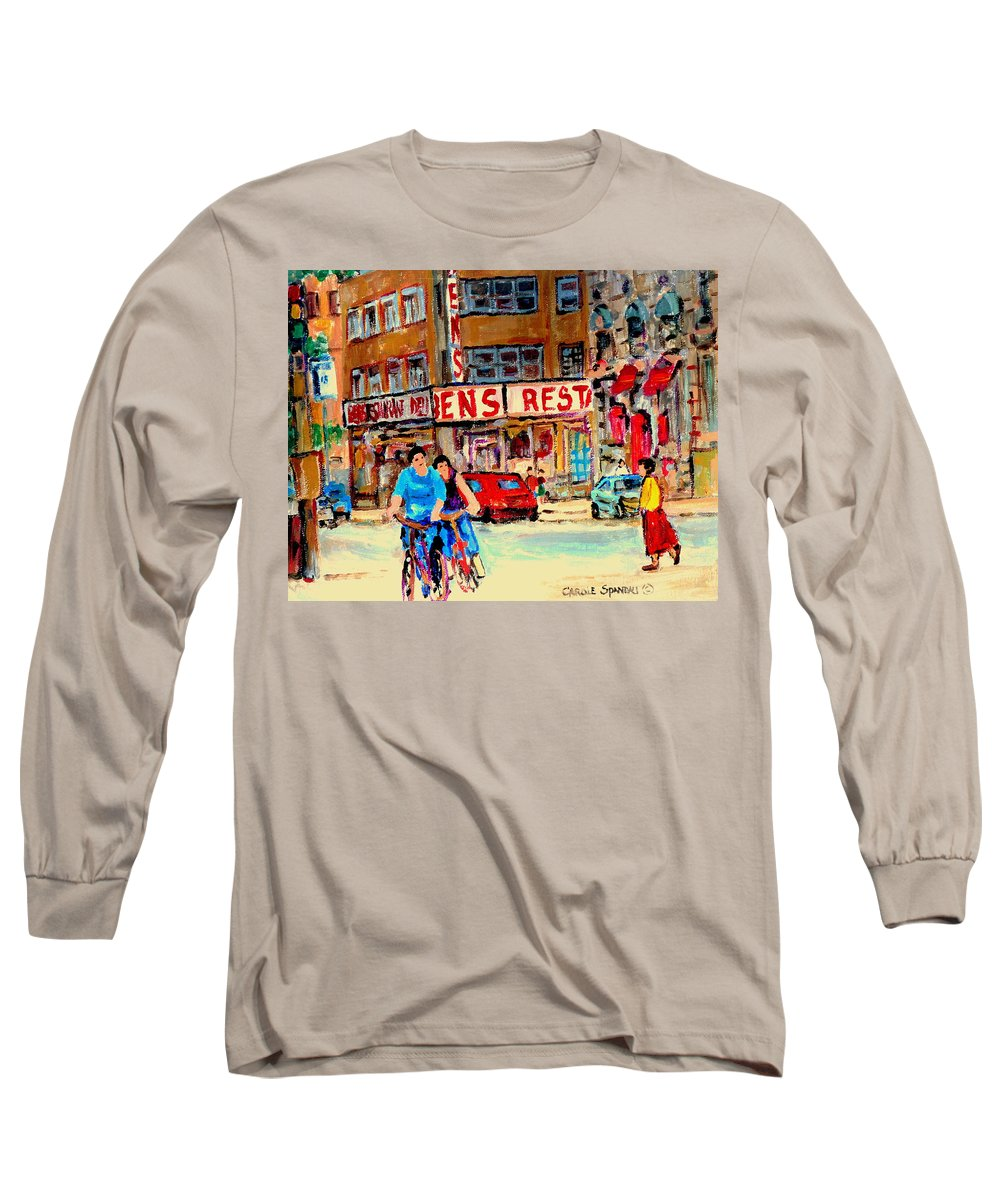 Montreal Long Sleeve T-Shirt featuring the painting Biking Past Ben by Carole Spandau