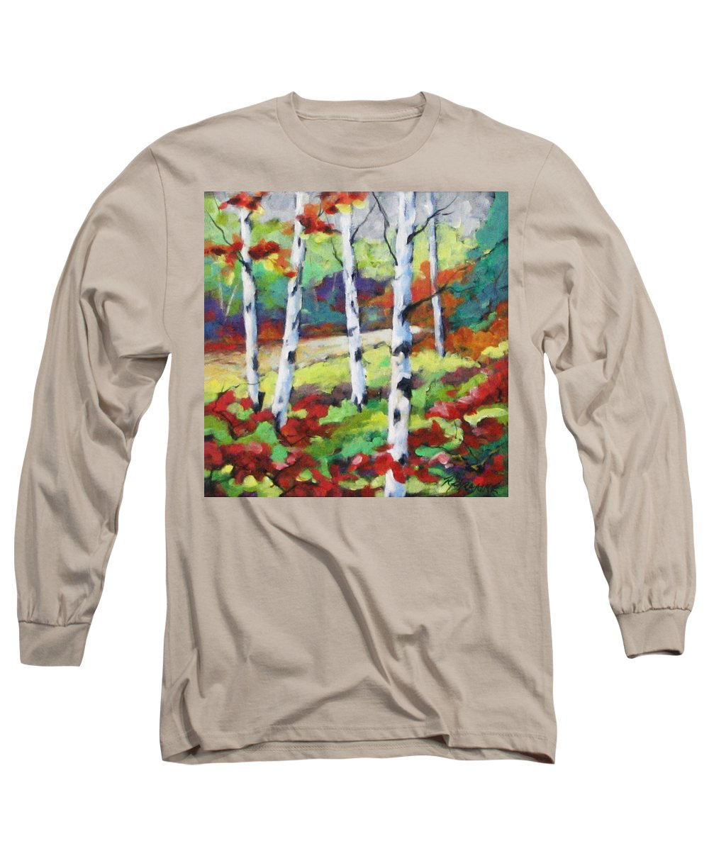 Art Long Sleeve T-Shirt featuring the painting Birches 07 by Richard T Pranke