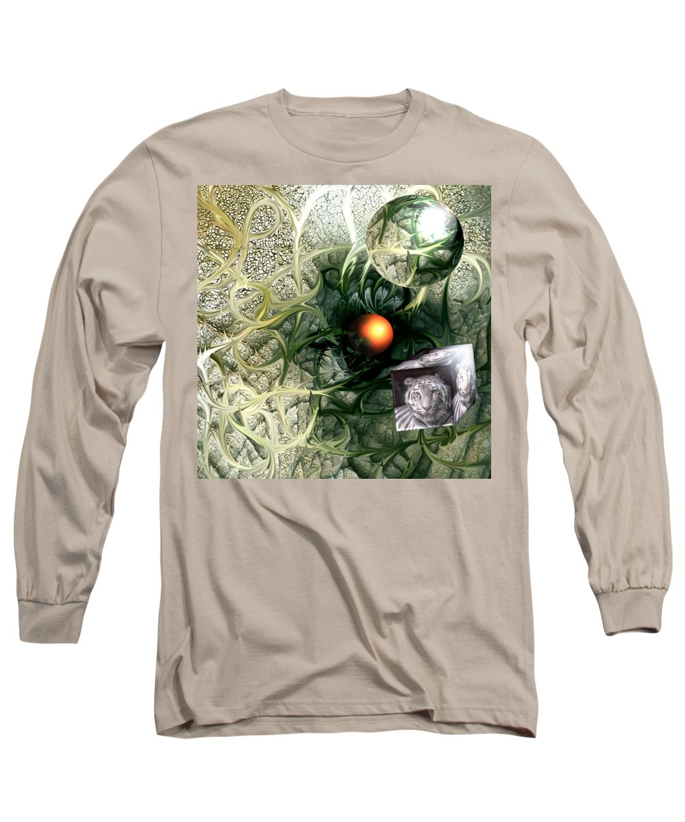Abstract Nature Red Birth Tiger Spheres Wire Long Sleeve T-Shirt featuring the digital art Birth by Veronica Jackson