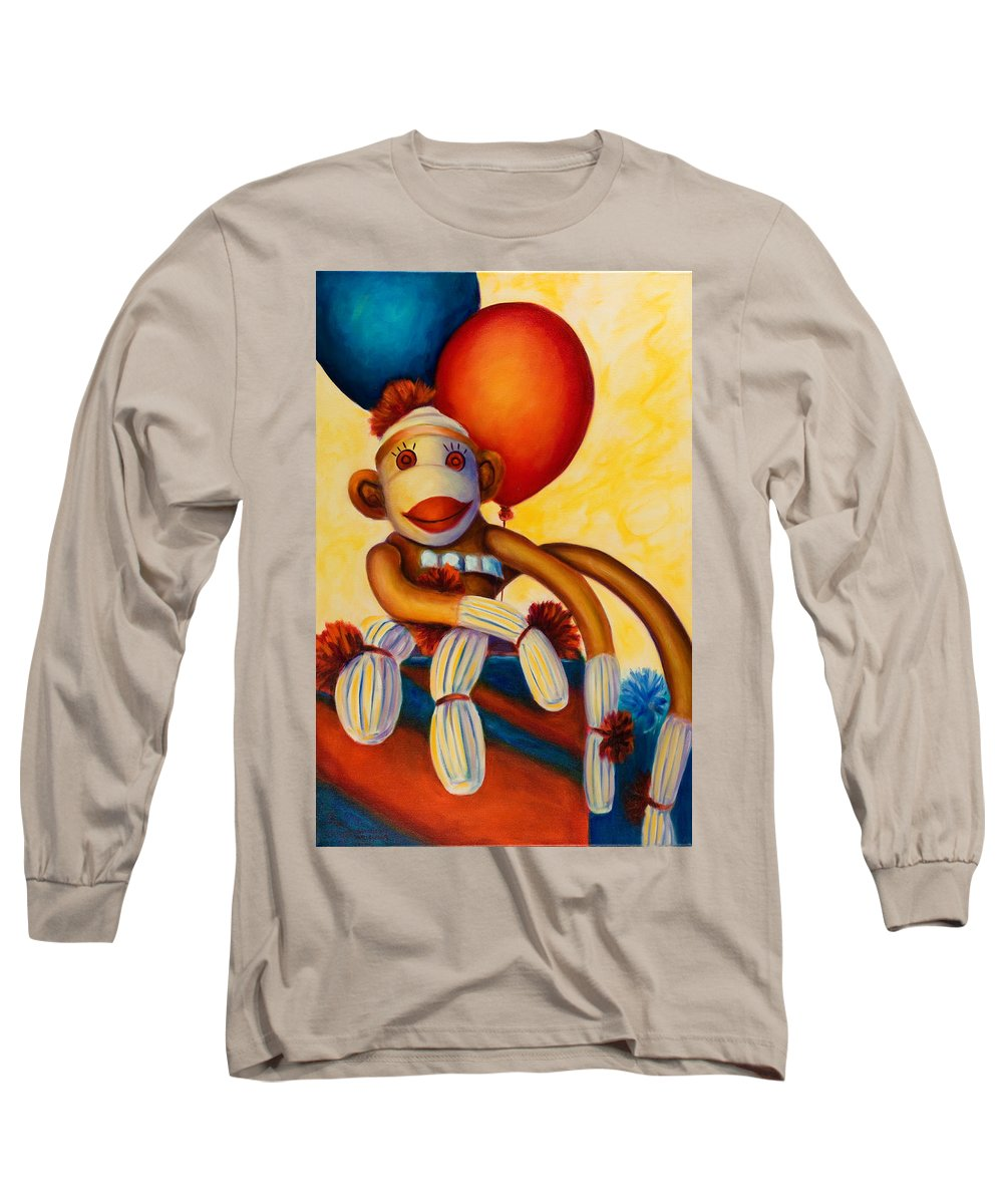 Sock Monkey Brown Long Sleeve T-Shirt featuring the painting Birthday Made Of Sockies by Shannon Grissom