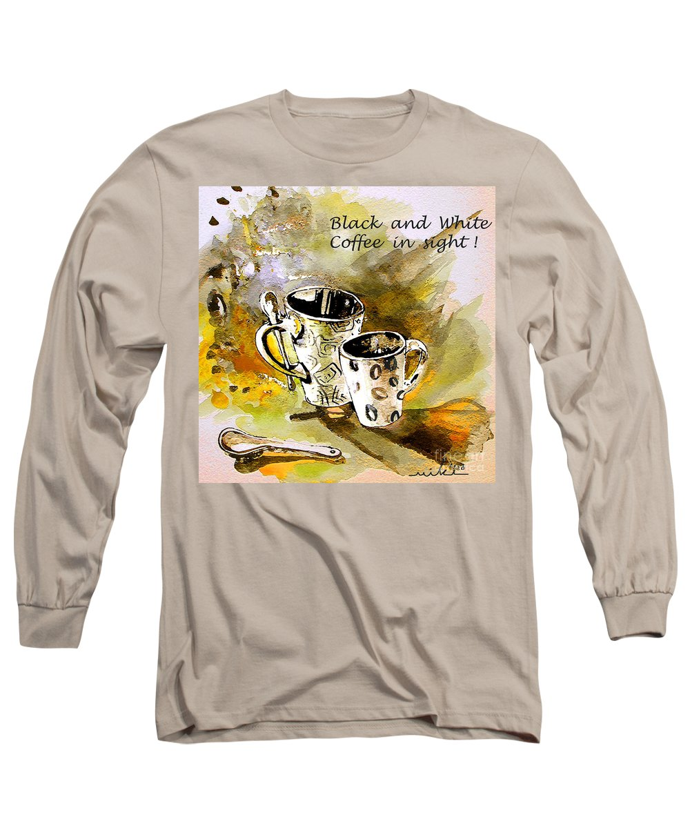 Cafe Crem Long Sleeve T-Shirt featuring the painting Black And White by Miki De Goodaboom