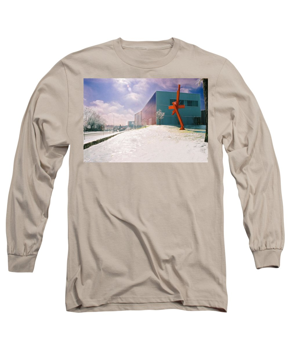 Landscape Long Sleeve T-Shirt featuring the photograph Bloch Building At The Nelson Atkins Museum by Steve Karol