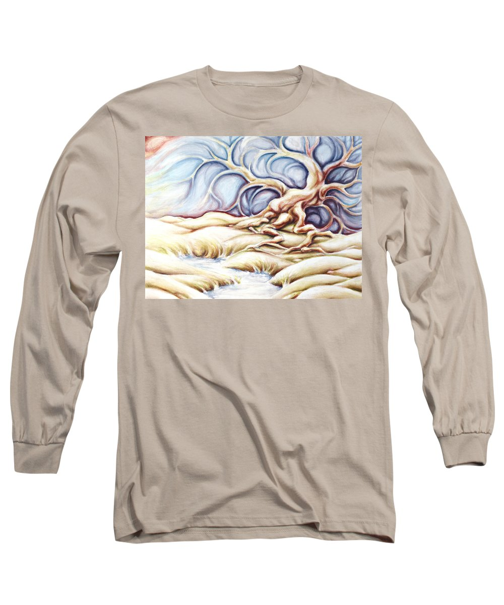 Acrylic Painting Long Sleeve T-Shirt featuring the painting Blonde And Blue by Jennifer McDuffie