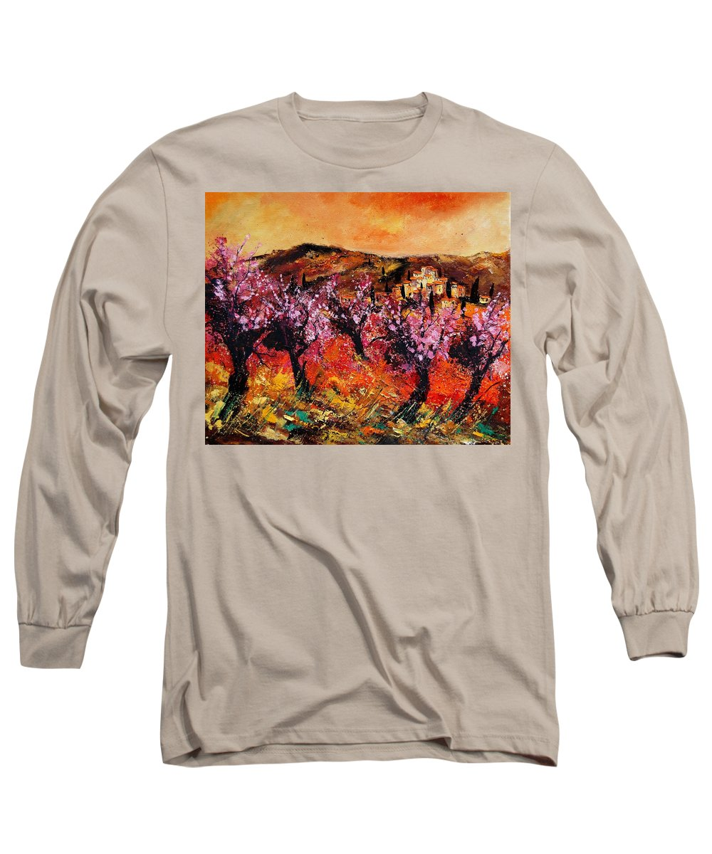 Provence Cherrytree Summer Spring Long Sleeve T-Shirt featuring the painting Blooming Cherry Trees by Pol Ledent