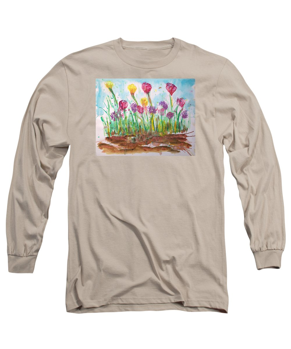 Flowers Long Sleeve T-Shirt featuring the painting Blooming Colors by J R Seymour