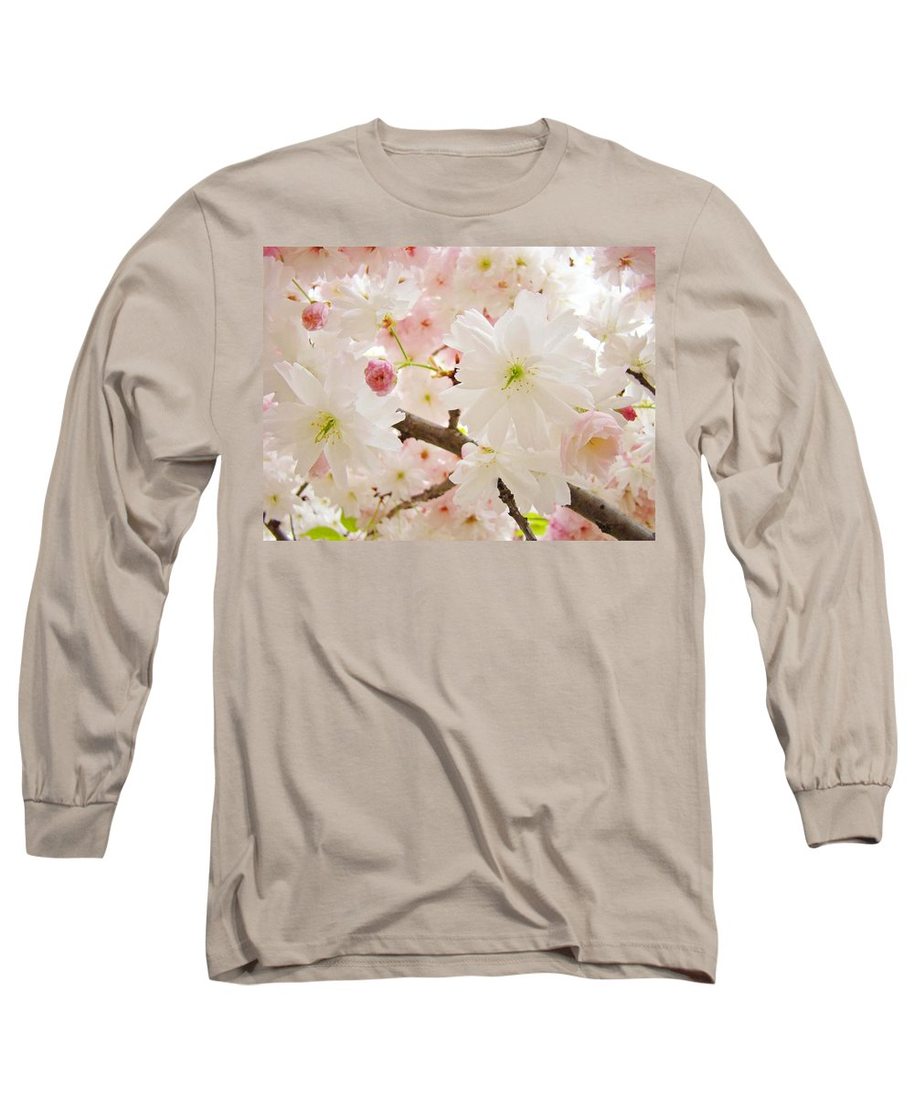 Nature Long Sleeve T-Shirt featuring the photograph Blossoms Art Print 53 Sunlit Pink Tree Blossoms Macro Springtime Blue Sky by Baslee Troutman