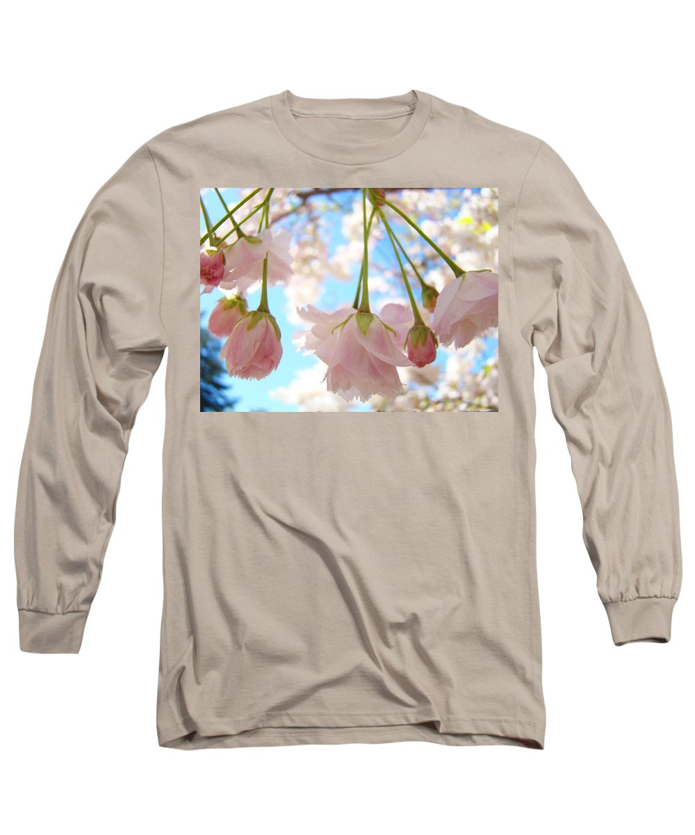 �blossoms Artwork� Long Sleeve T-Shirt featuring the photograph Blossoms Art Prints 52 Pink Tree Blossoms Nature Art Blue Sky by Baslee Troutman