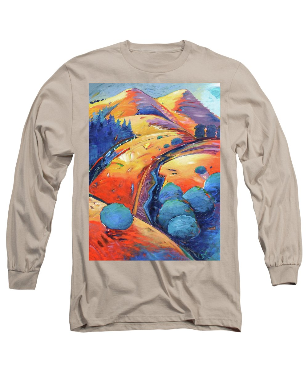 Hills Long Sleeve T-Shirt featuring the painting Blue And Gold by Gary Coleman