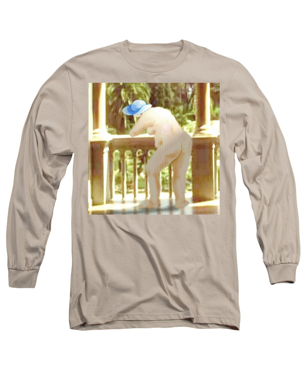 Woman Blue Hat Morning Nature Balcony Long Sleeve T-Shirt featuring the digital art Blue Hat by Veronica Jackson