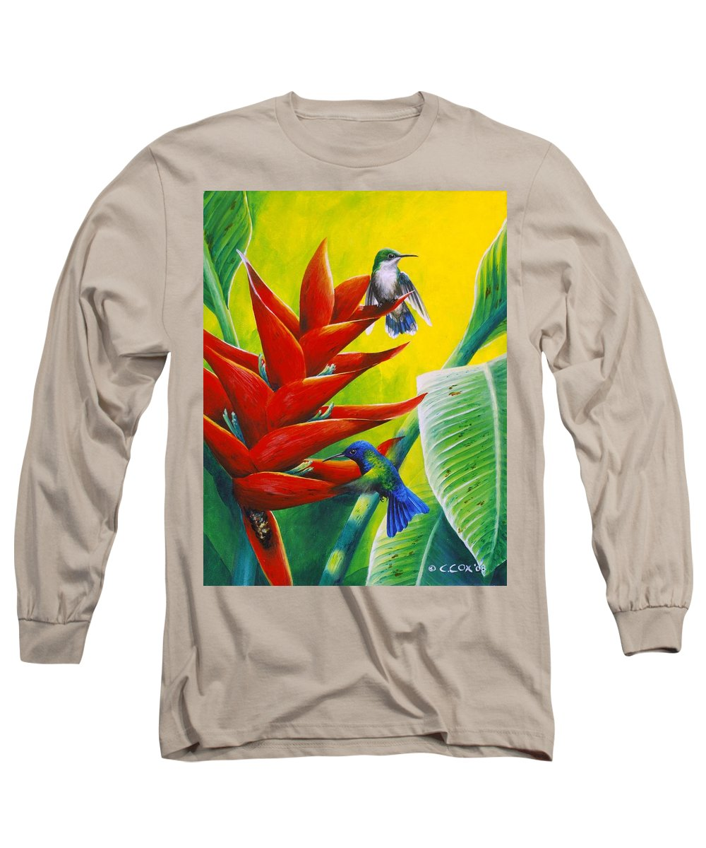 Chris Cox Long Sleeve T-Shirt featuring the painting Blue-headed Hummingbirds And Heliconia by Christopher Cox