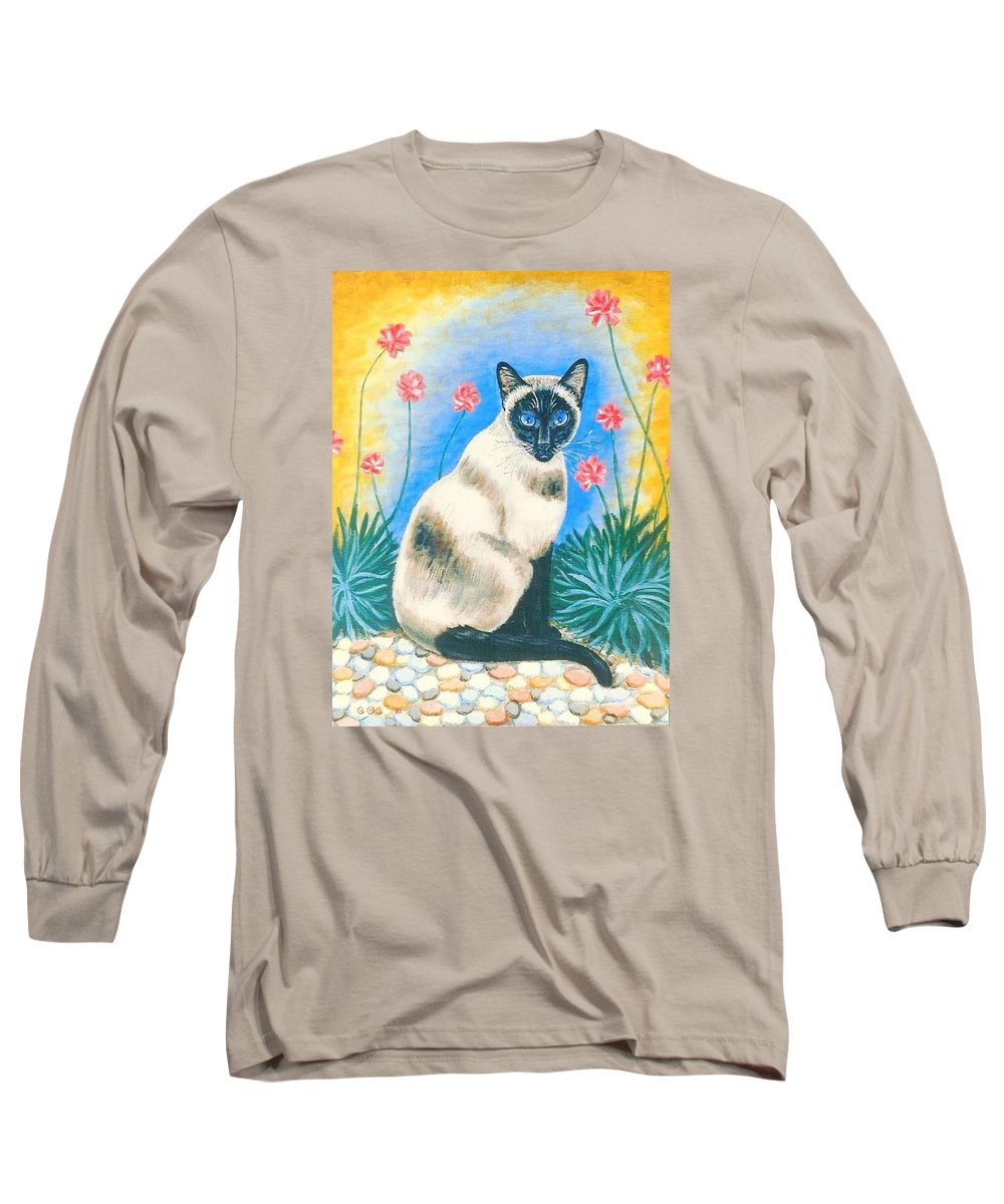 Cats Long Sleeve T-Shirt featuring the painting Blue Kitty by George I Perez