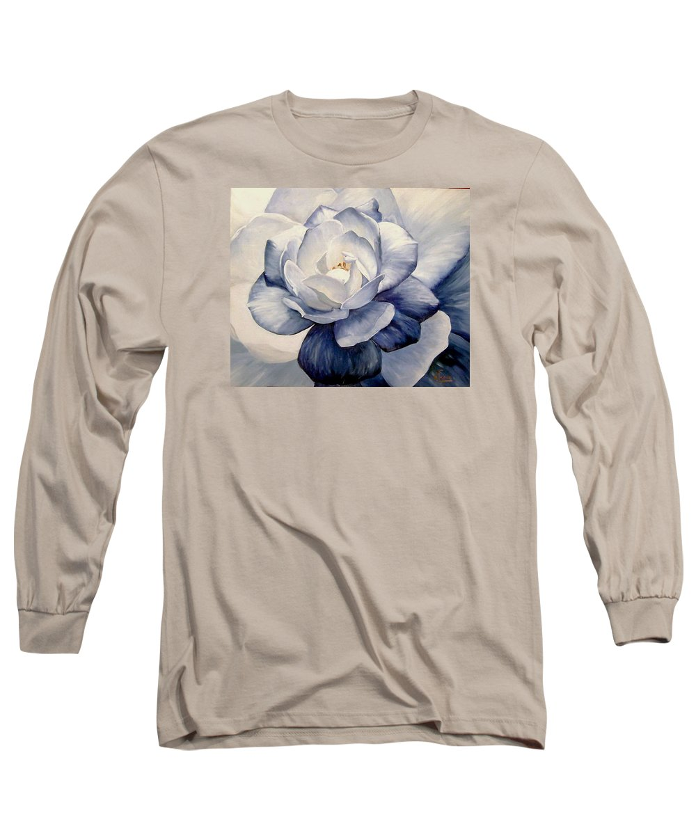 Flower Macro Nature Blue Gardenia Long Sleeve T-Shirt featuring the painting Blue by Natalia Tejera