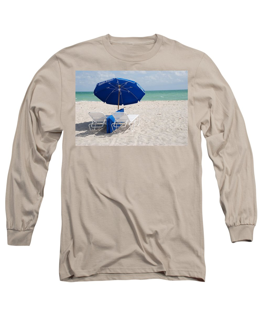 Sea Scape Long Sleeve T-Shirt featuring the photograph Blue Paradise Umbrella by Rob Hans