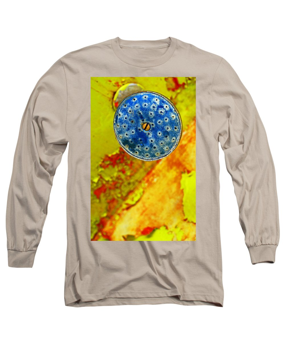 Shadow Long Sleeve T-Shirt featuring the photograph Blue Shower Head by Skip Hunt