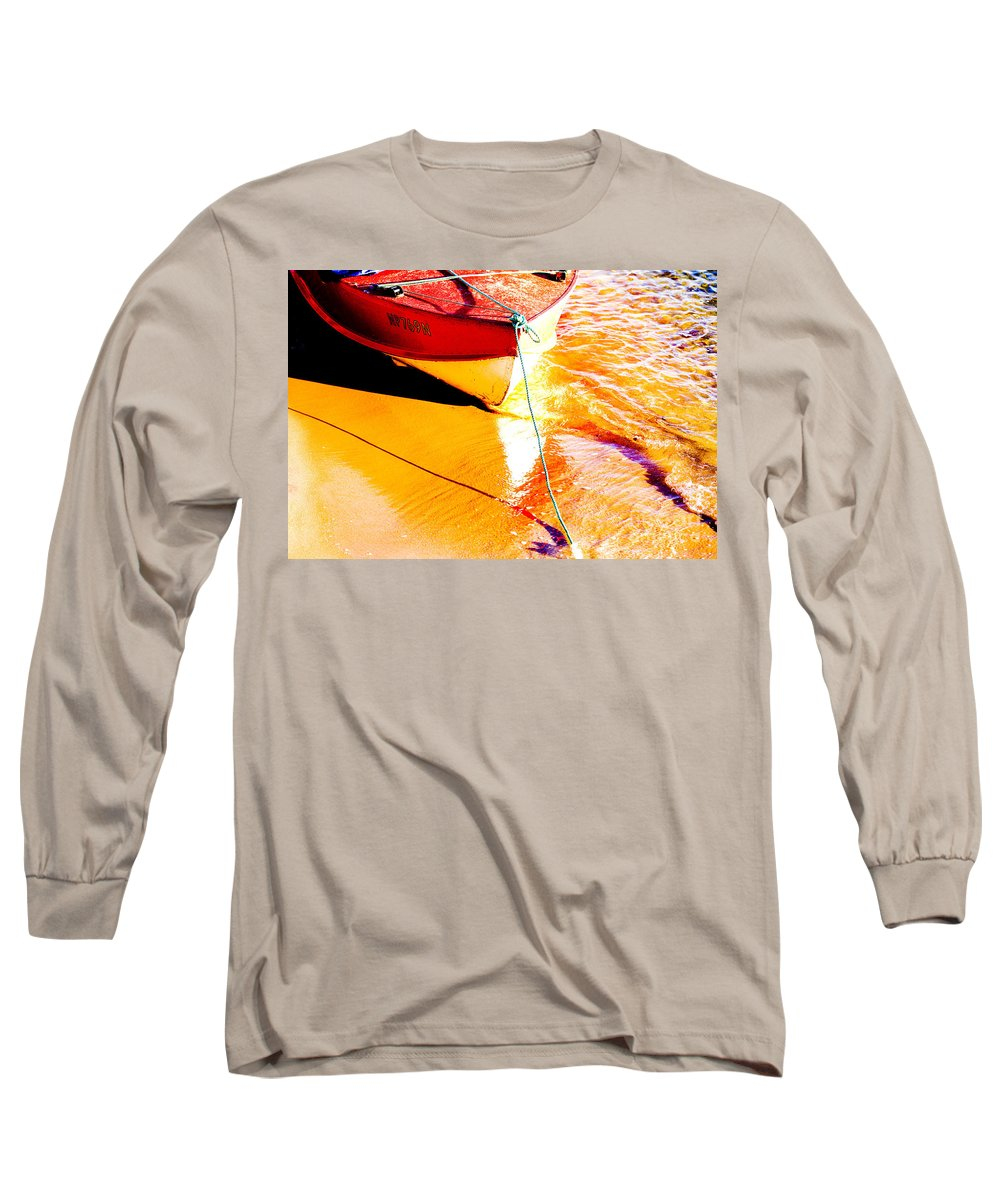 Boat Abstract Yellow Water Orange Long Sleeve T-Shirt featuring the photograph Boat Abstract by Sheila Smart Fine Art Photography