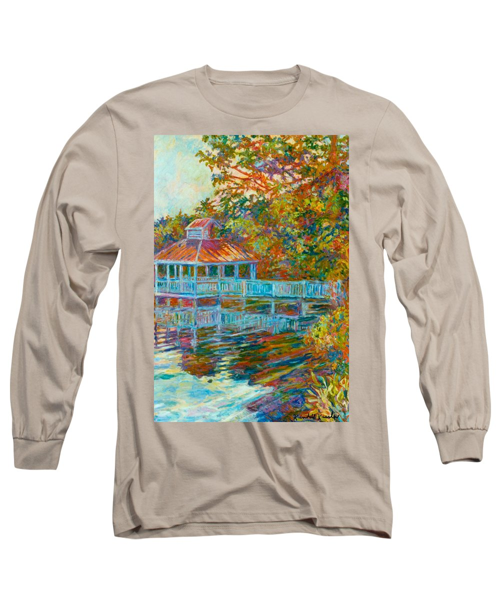 Mountain Lake Long Sleeve T-Shirt featuring the painting Boathouse At Mountain Lake by Kendall Kessler