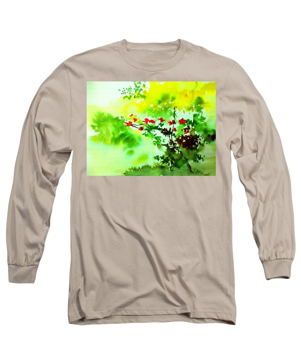 Floral Long Sleeve T-Shirt featuring the painting Boganwel by Anil Nene